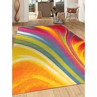Modern Contemporary Waves Multicolor Non-slip Non-skid Area Rug (5'3 x 7'3) - 5'3 x 7'3