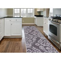 Modern Transitional Damask Grey Non-slip Non-skid Area Runner Rug - 2' x 7'