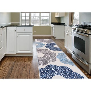 Blue Nylon Contemporary Large Floral Non-slip Non-skid Area Rug Runner (2' x 7')
