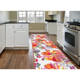 Multicolored Modern Bright Flowers Non-slip Non-skid Area Rug Runner (2' x 7')