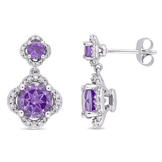 Miadora Signature Collection 14k White Gold Amethyst and 2/5ct TDW Diamond Quatrefoil Halo Dangle Earrings (G-H, I1-I2)