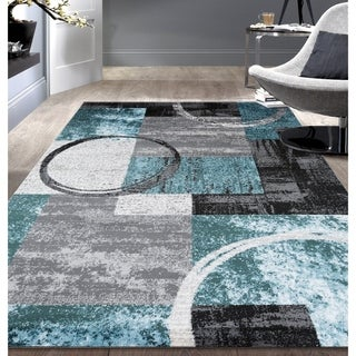Toscana Abstract Circle Grey/Blue Indoor Area Rug (5'3 x 7'3)