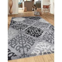 Contemporary Geometric Grey Indoor Area Rug Runner - 2' x 7'2""