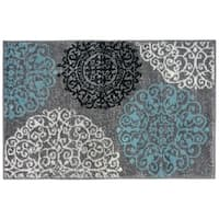 Contemporary Modern Floral Grey Indoor Area Rug (2' x 3') - 2' X 3'