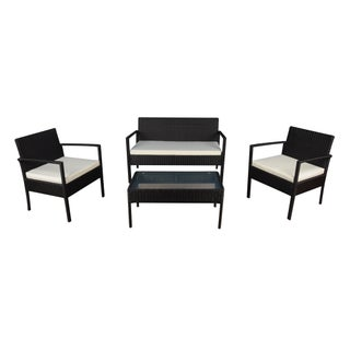 4-piece Modern Rattan Outdoor Set (Option: Ivory)