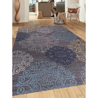 "Modern Grey Floral Swirl Design Non-slip Area Rug - 7'10"" x 10'"