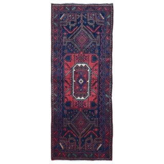 FineRugCollection Handmade Semi-Antique Persian Hamadan Red & Black Oriental Runner (4'2 x 10'10)