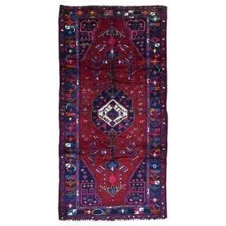 FineRugCollection Handmade Semi-Antique Persian Hamadan Red & Black Oriental Runner (5'3 x 9'11)