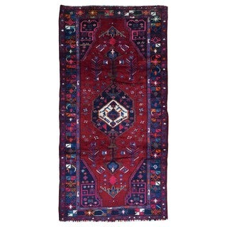 FineRugCollection Handmade Semi-Antique Persian Hamadan Red & Black Oriental Runner (5'3 x 9'11)