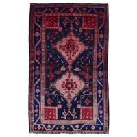 FineRugCollection Handmade Semi-Antique Persian Hamadan Red & Black Oriental Runner (5'1 x 8')