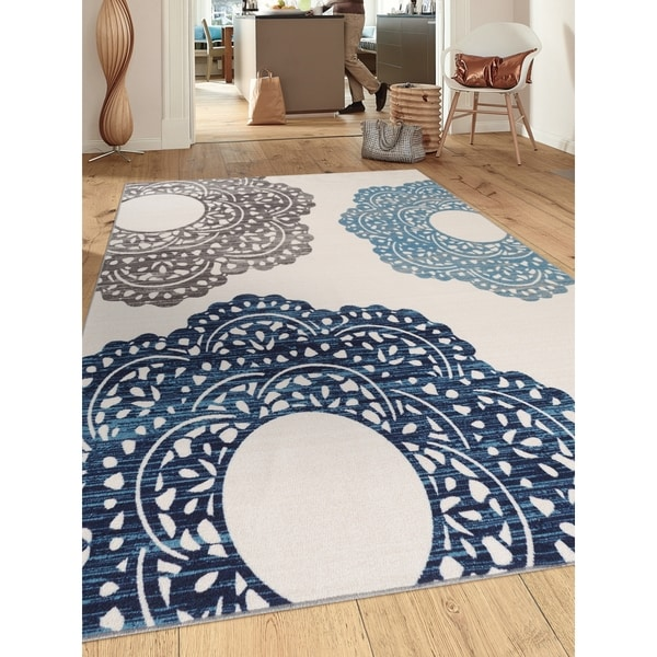 """Blue Nylon Contemporary Large Floral Non-slip Non-skid Area Rug - 7'10"""" x 10'"""