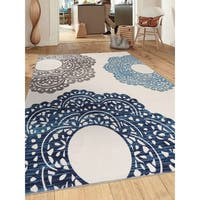 "Blue Nylon Contemporary Large Floral Non-slip Non-skid Area Rug - 7'10"" x 10'"