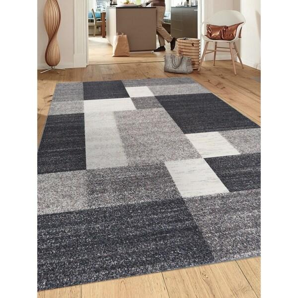 "Grey Modern Boxes Design Non-slip Non-skid Area Rug (7' 10 x 10') - 7'10"" x 10'"