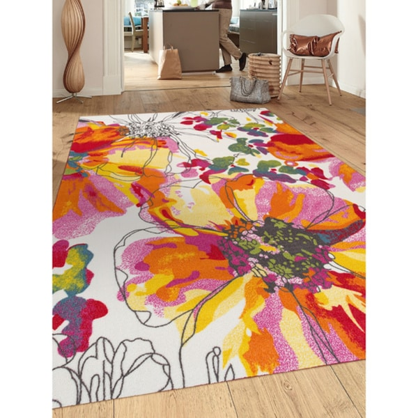 modern bright flowers multicolored non slip non skid area rug 7 39 10 x 10 39 free shipping. Black Bedroom Furniture Sets. Home Design Ideas