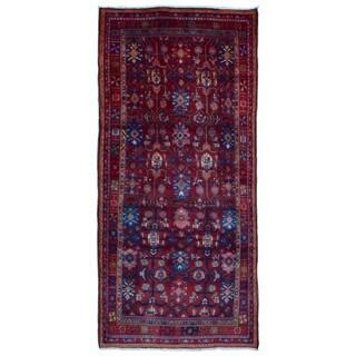 FineRugCollection Handmade Semi-Antique Persian Hamadan Red & Blue Oriental Runner (4'10 x 10'4)