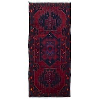 FineRugCollection Handmade Semi-Antique Persian Hamadan Red & Black Oriental Runner (4'1 x 9'5)