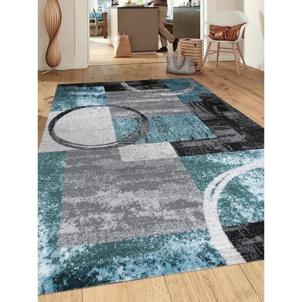 "Contemporary Abstract Circle Grey/Blue Indoor Area Rug - 7'10"" x 10'2"""