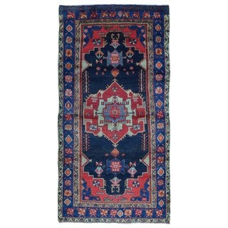 FineRugCollection Handmade Semi-Antique Persian Hamadan Red & Black Oriental Runner (4'3 x 8'10)