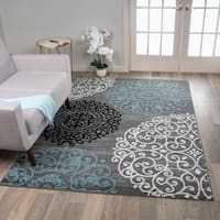 "Contemporary Modern Floral Grey Indoor Area Rug (7'10 x 10'2) - 7'10"" x 10'2"""