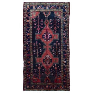 FineRugCollection Handmade Semi-Antique Persian Hamadan Pink & Black Oriental Runner (4'11 x 9'6)