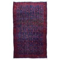 FineRugCollection Handmade Semi-Antique Persian Hamadan Red & Black Oriental Runner (4'7 x 7'5)