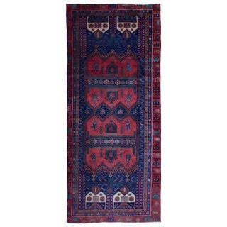 FineRugCollection Semi-Antique Handmade Persian Hamadan Red & Navy Oriental Runner (4'5 x 10'1)