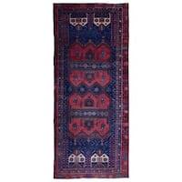 FineRugCollection Semi-Antique Handmade Persian Hamadan Red & Navy Oriental Runner (4'5 x 10'1)