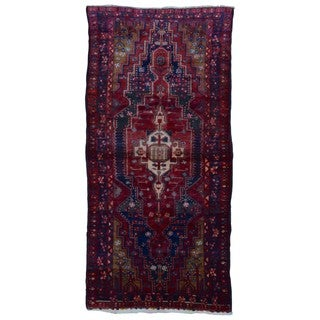 FineRugCollection Handmade Semi-Antique Persian Hamadan Red Oriental Rug (4'7 x 9'7)
