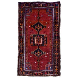 FineRugCollection Handmade Semi-Antique Persian Hamadan Red & Black Oriental Runner (5'1 x 8'4)