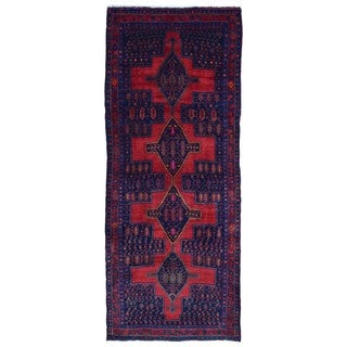 FineRugCollection Handmade Semi-Antique Persian Hamadan Red & Black Oriental Runner (4'9 x 11'6)