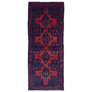FineRugCollection Handmade Semi-Antique Persian Hamadan Red & Black Oriental Runner (4'9 x 11'6)
