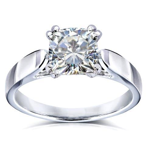 Annello by Kobelli 14k White Gold 1 1/10 Carat Solitaire Cushion Moissanite Engagement Ring (GH/VS)