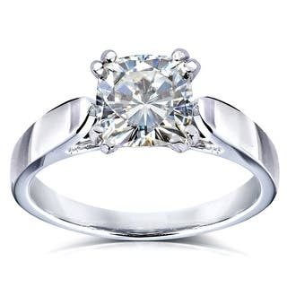 annello by kobelli 14k white gold 1 110ct cushion moissanite hi solitaire - Moissanite Wedding Rings