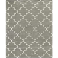 Horizon Collection Platinum Hand-tufted Wool Area Rug - 8' x 11'