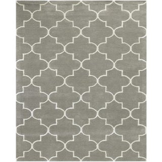 Horizon Collection Platinum Wool and Viscose Hand-tufted Area Rug (5 'x 8')