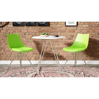 Emerald Home Audrey PU Seat and Chrome Base Dining Chair 2PK