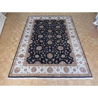 Hand Knotted Black Tabriz with Silk Blend Oriental Rug - 10 x 14'2