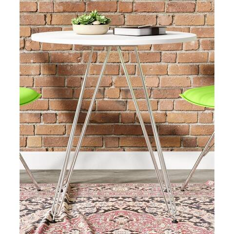 """Emerald Home Audrey White and Chrome 27.5"""" Round Dining Table with Round Top And Chrome Legs"""