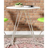 """Emerald Home Audrey White And Chrome 27.5"""" Round Dinette Table"""