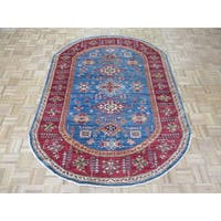 Hand Knotted Blue Super Kazak with Wool Oriental Rug (5'8 x 7'10)