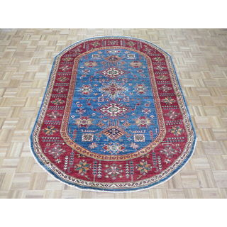 Hand Knotted Blue Super Kazak with Wool Oriental Rug - 5'8 x 7'10