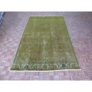 Hand Knotted Gold Tabriz with Wool Oriental Rug (7'6 x 12'2)