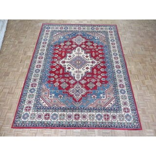 Hand Knotted Red Kazak with Wool Oriental Rug (8'11 x 11'10)