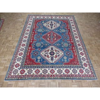 Hand Knotted Blue Kazak with Wool Oriental Rug (9 x 12'3)