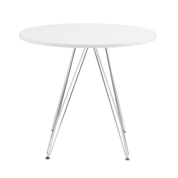 Emerald Home Audrey White And Chrome 40 Round Dining