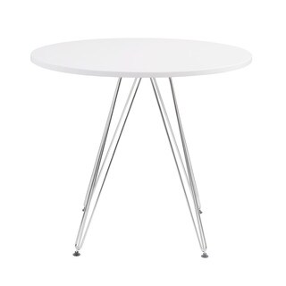 "Emerald Home Audrey 40"" White & Chrome Round Dinette Table"