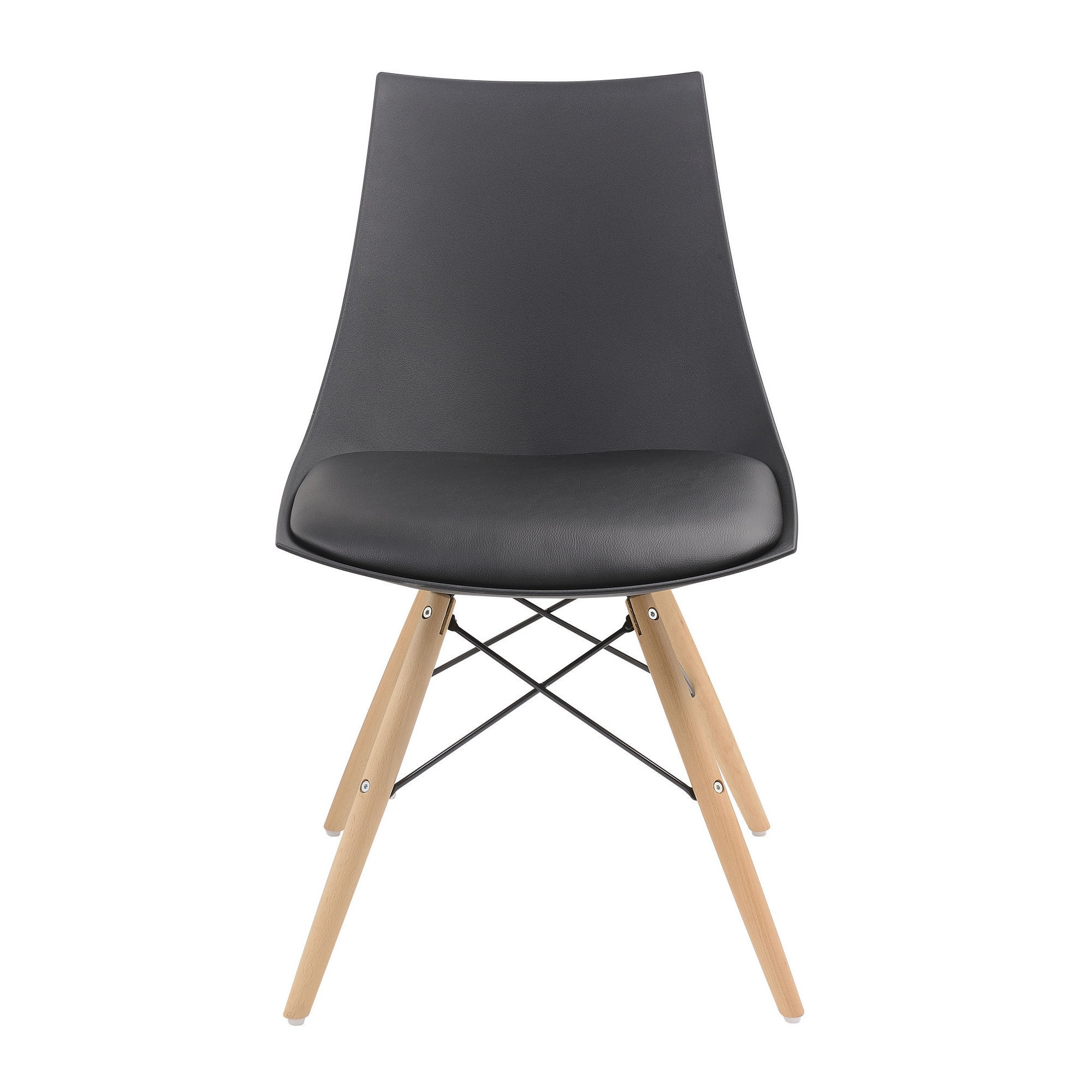 Emerald Home Annette PU Seat and Wood Legs Dining Chair 2...