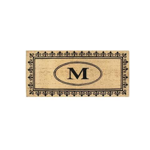 A1HC Quinton Monogram Anti Shread-treated 24 x 57-inch Coir Doormat
