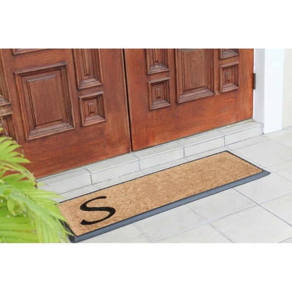 First Impression Rubber/Coir Molded Lucida 16-inch x 48-inch Monogrammed Doormat