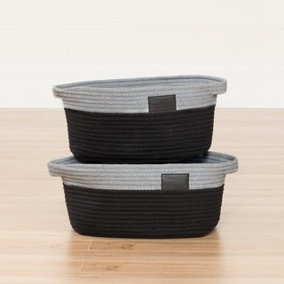 South Shore Storit Grey and Black Knit Baskets (Set of 2)